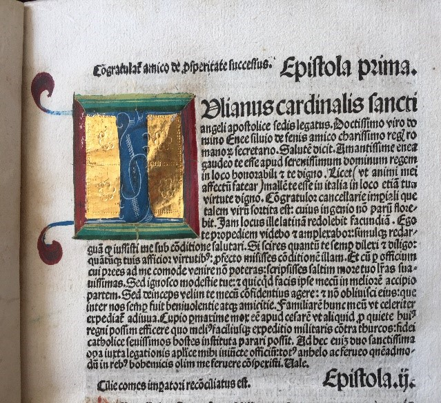 II. Pius pápa: Epistolae familiares, Nuremberge impresse [Nürnberg], Impensis Anthonij Koberger, xvj. kl's augusti. Anno salutis christiane etc. M.cccclxxxvj. [17. Jul. 1486.]  – Régi Nyomtatványok Tára. Jelzet Inc. 1073c