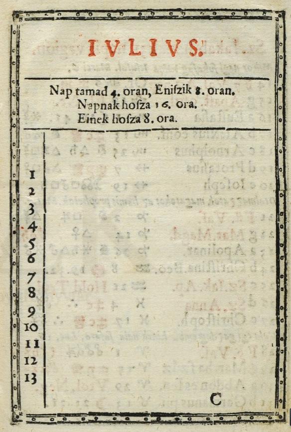 """[Július] – """"Kalendarium, es az ielen valo…"""", 1583 (RMNY 503) – Régi Nyomtatványok Tára"""