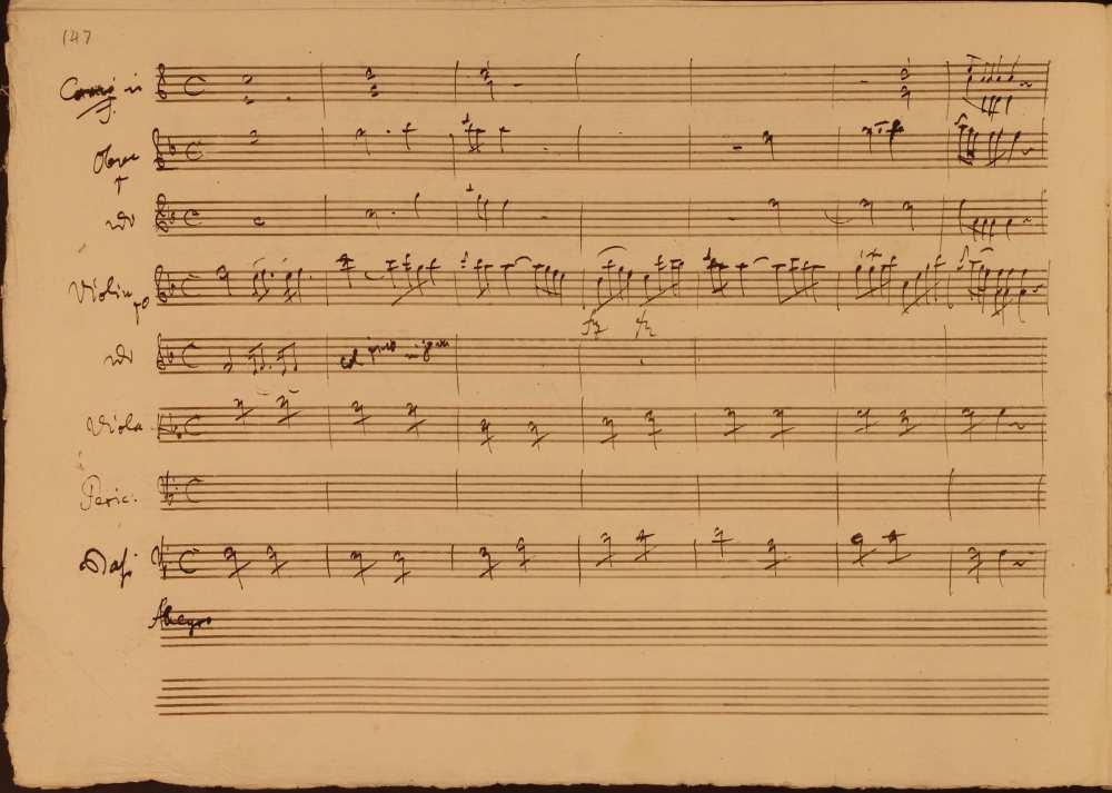 Joseph Haydn: La fedeltà premiata (A hűség jutalma). Opera három felvonásban. (Hob. XXVIII/10). Perrucchetto, a különc gróf áriája az első felvonásból. Az ária zenekari bevezetése. Szerzői autográf. Jelzet: Ms. Mus. I. 6 – Színháztörténeti és Zeneműtár (Esterházy-gyűjtemény)
