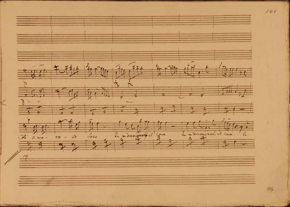 Joseph Haydn: Joseph Haydn: La fedeltà premiata (A hűség jutalma). Opera három felvonásban. (Hob. XXVIII/10). Perrucchetto, a különc gróf áriája az első felvonásból: Coll' amoro so face… Szerzői autográf. Jelzet: Ms. Mus. I. 6 – Színháztörténeti és Zeneműtár (Esterházy-gyűjtemény)