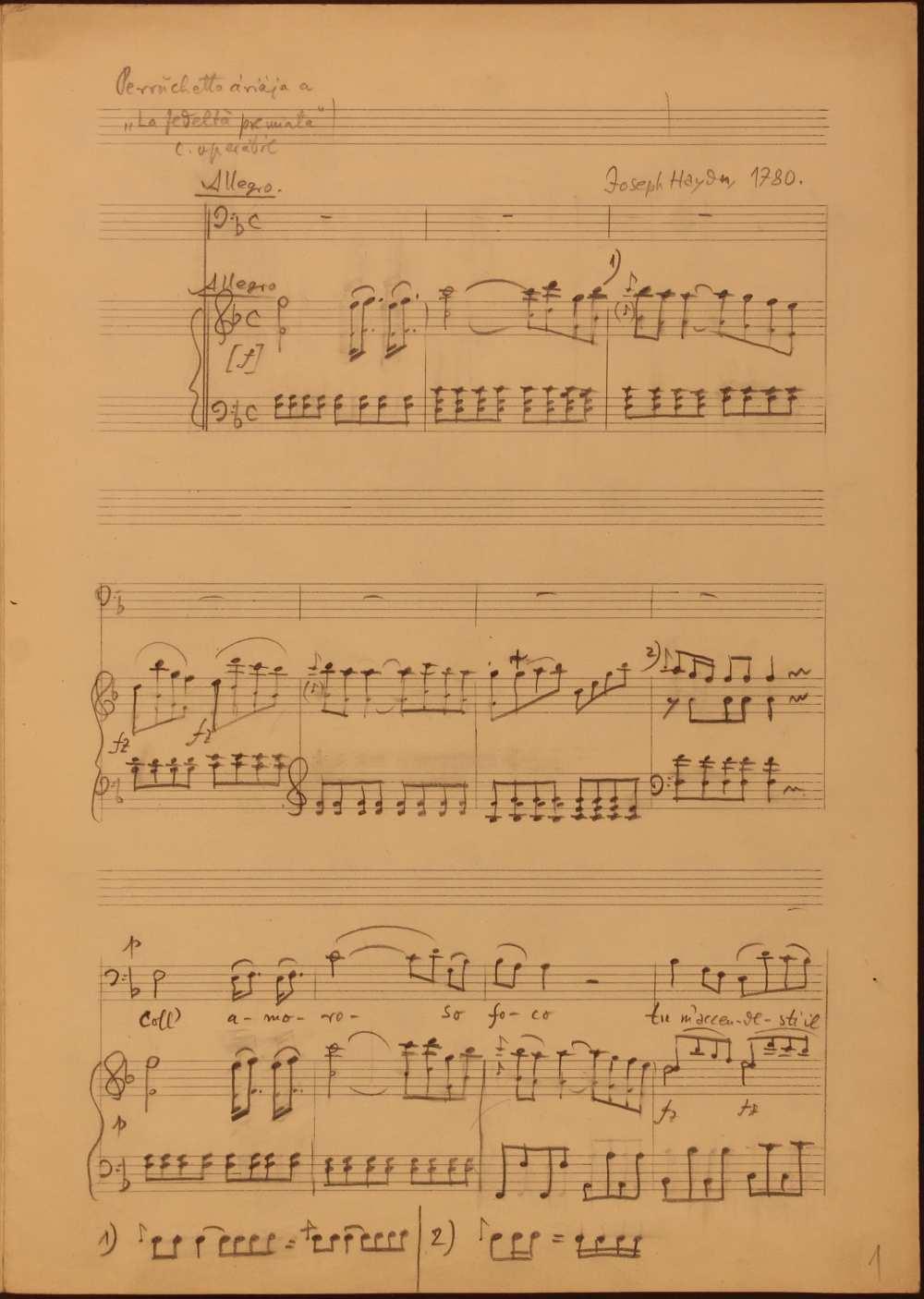 Joseph Haydn: La fedeltà premiata (A hűség jutalma). Opera három felvonásban. (Hob. XXVIII/10). Perrucchetto, a különc gróf áriája az első felvonásból: Coll' amoro so face… Vécsey Jenő átirata, részlet. Szerzői autográf. Jelzet: Ms. Mus 4.528 – Színháztörténeti és Zeneműtár. Az ária meghallgatható: https://www.youtube.com/watch?v=x5ClzMHdnYg