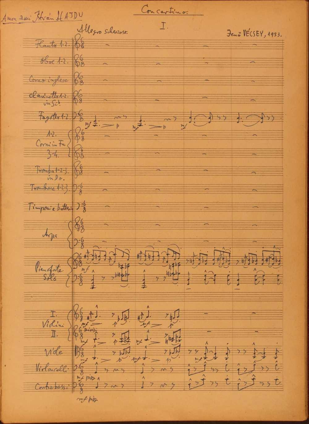 Vécsey Jenő: Concertino, zongorára és zenekarra. (1953-1956). Első tétel, Allegro scherzando. Szerzői autográf. Jelzet: Ms. Mus. 4.289. – Zeneműtár. A tétel meghallgatható: https://www.youtube.com/watch?v=z2HQDUTeAMk