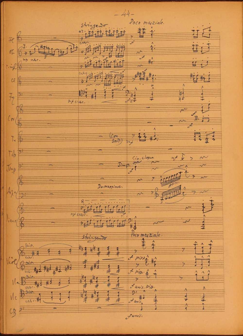 Vécsey Jenő: Concertino, zongorára és zenekarra. (1953-1956). A második, Andante con moto tétel részlete. Szerzői autográf. Jelzet: Ms. Mus. 4.289. – Zeneműtár. A tétel meghallgatható: https://www.youtube.com/watch?v=yevYgyBlp6Q
