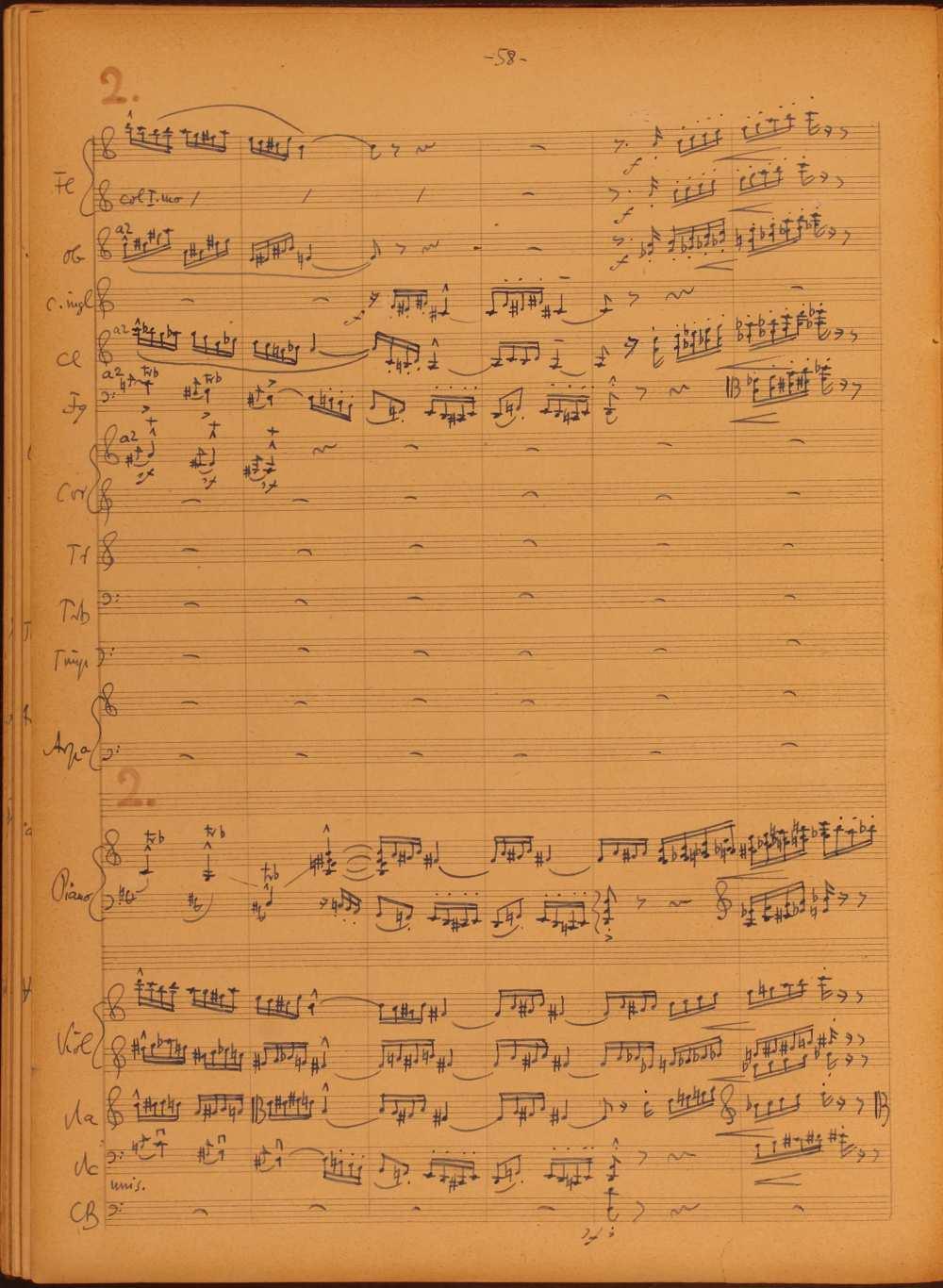 Concertino, zongorára és zenekarra. (1953-1956). Részlet a harmadik, Vivace assai tételből. Szerzői autográf. Jelzet: Ms. Mus. 4.289. – Zeneműtár. A tétel meghallgatható: https://www.youtube.com/watch?v=0qguevkjURU