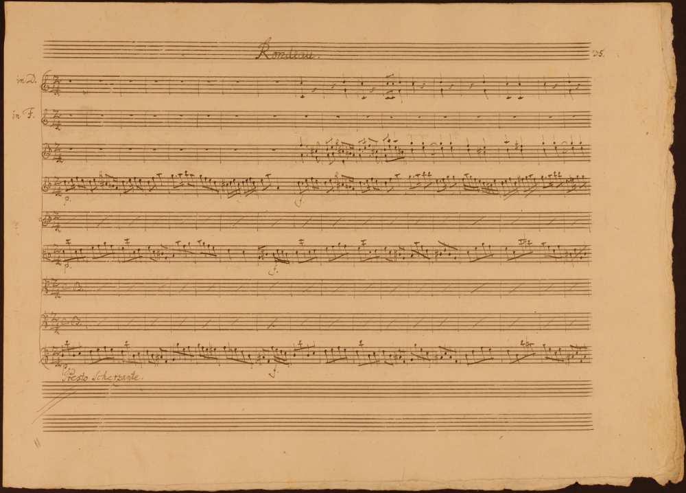 Michael Haydn: D-moll szimfónia (Salzburg, 1784). A magyaros főtémájú harmadik tétel kezdő taktusai. Szerzői autográf. Jelzet: Ms. Mus. II. 67 – Színháztörténeti és Zeneműtár (Esterházy-gyűjtemény)
