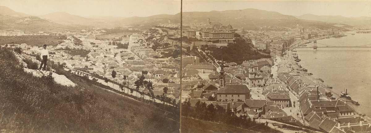 Klösz György: Környékkép Budapestről, 1896 – Térkép-, Plakát-és Kisnyomtatványtár. Jelzet: Kny.B.1.196.