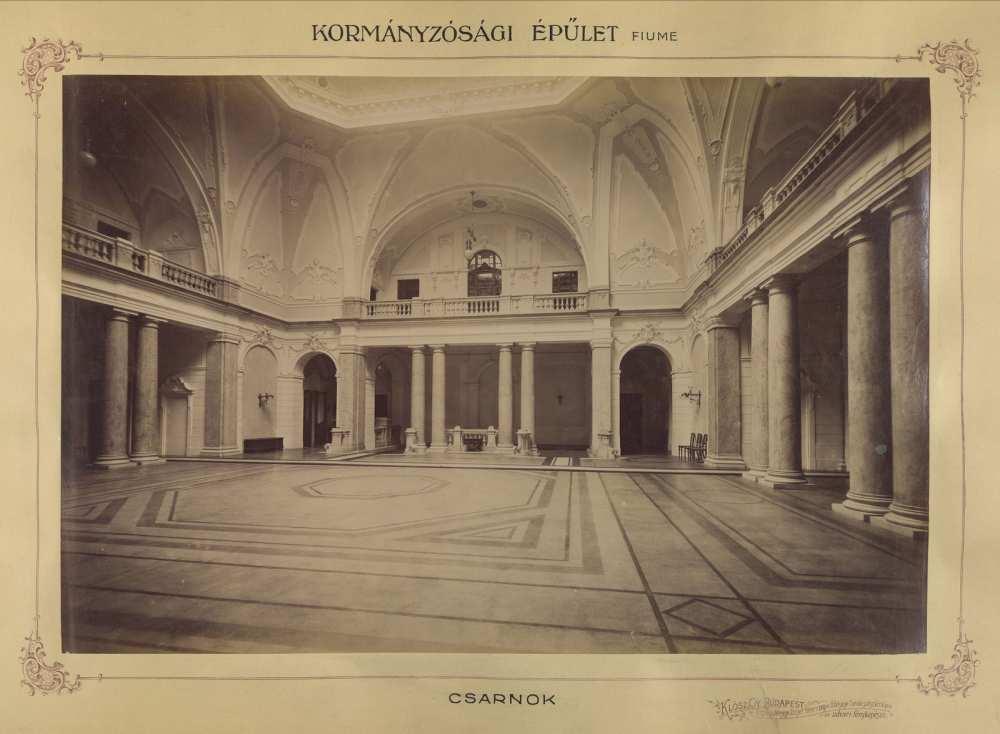 Kormányzósági Palota csarnoka, Fiume, 1895 és 1899 között. Forrás: Fortepan/Budapest Főváros Levéltára HU.BFL.XV.19.d.1.11.021.