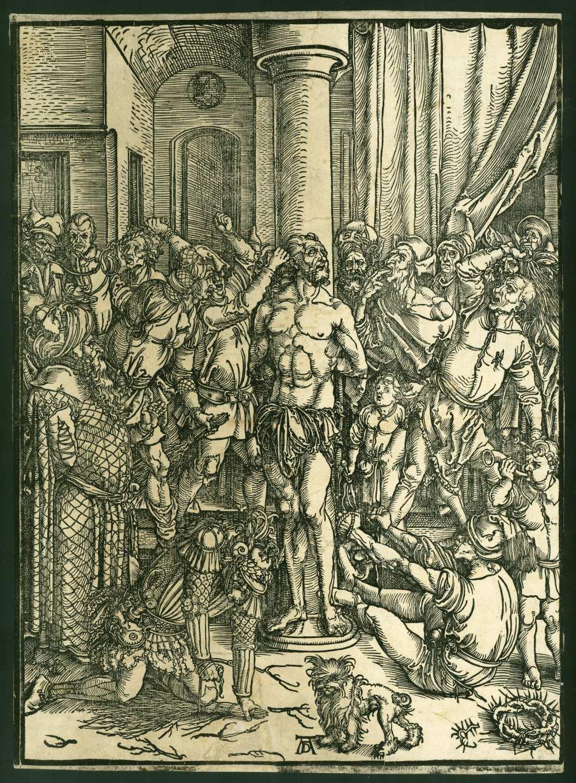 Albrecht Dürer: Krisztus ostorozása, [S. l.] [s. n.] [1496/97]. Fametszet – Régi Nyomtatványok Tára. Raktári jelzet: App. M. 1070. A kép forrása: Régi Ritka. Digitális tartalomszolgáltatás https://regiritka.oszk.hu/apponyi-metszetek/krisztus-ostorozasa/