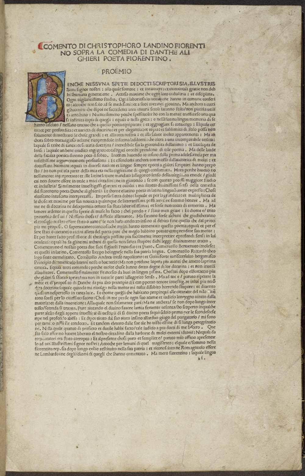La Commedia (Comm. Cristophorus Landinus). (17280). A kép forrása: University of Manchester, Digital Collection. https://www.digitalcollections.manchester.ac.uk/view/PR-INCU-17280/9