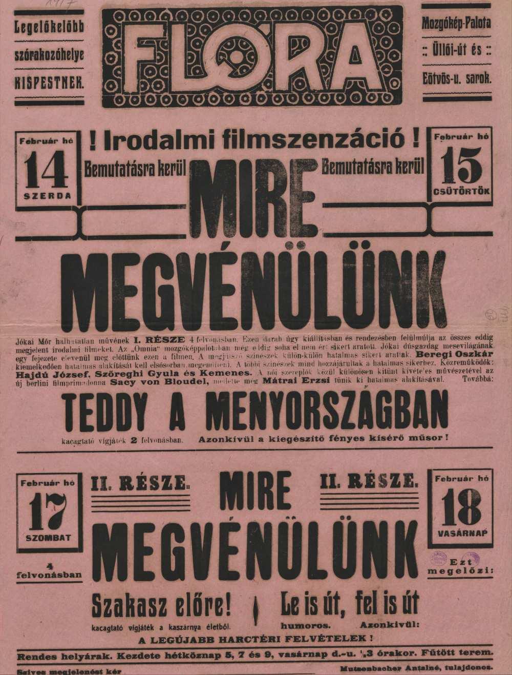 Mire megvénülünk. Filmplakát, 1917. – Térkép-, Plakát- és Kisnyomtatványtár, Jelzet: Szöv.pl 1917