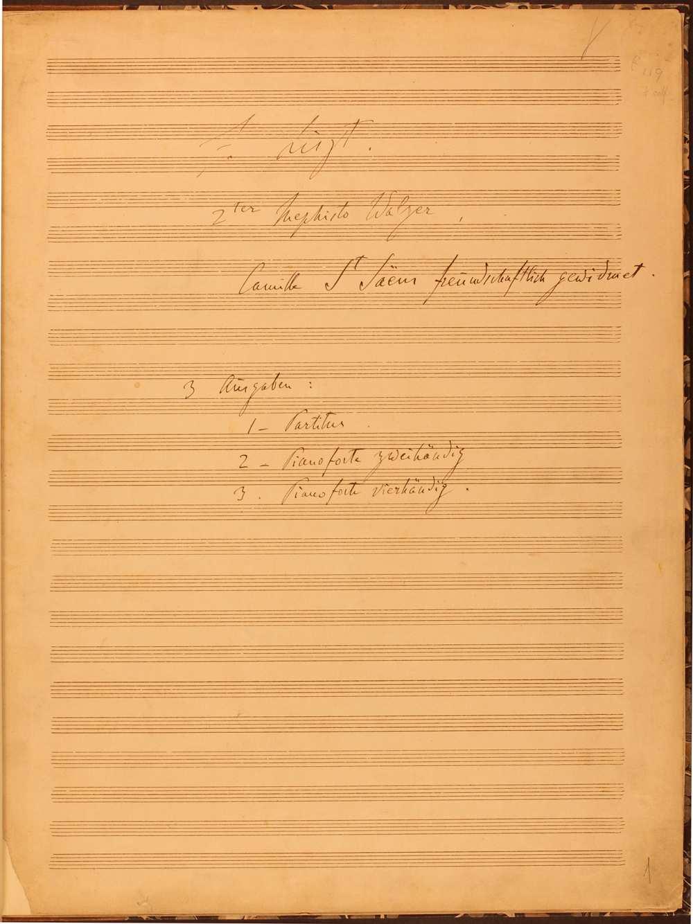 Mefisztó-keringő. A zenekarra írt változat nyomdai kézirata a szerző saját kezű címoldalával, 1881. május. – Zeneműtár, Ms. mus. 4972