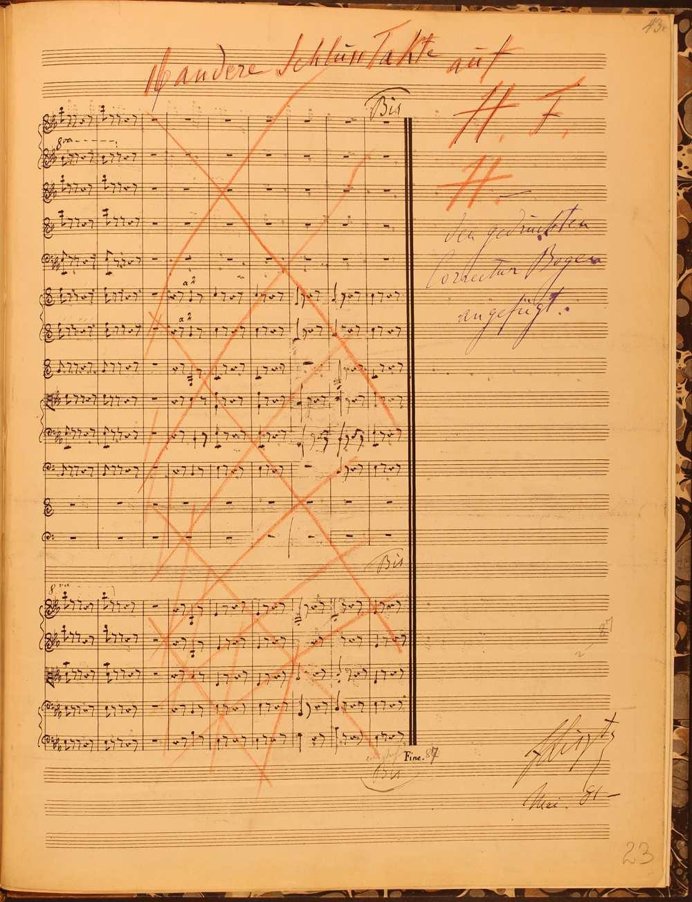 Mefisztó-keringő. A zenekarra írt változat nyomdai kézirata a szerző saját kezű áthúzásaival és a mű tizenhat új záróütemére utaló bejegyzéseivel, 1881. május. – Zeneműtár, Ms. mus. 4972