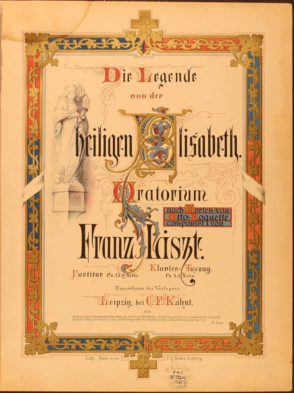 A Szent Erzsébet legendája című oratórium partitúrája. Leipzig, Kahnt, [1869]. – Zeneműtár, Mus. pr. 7280