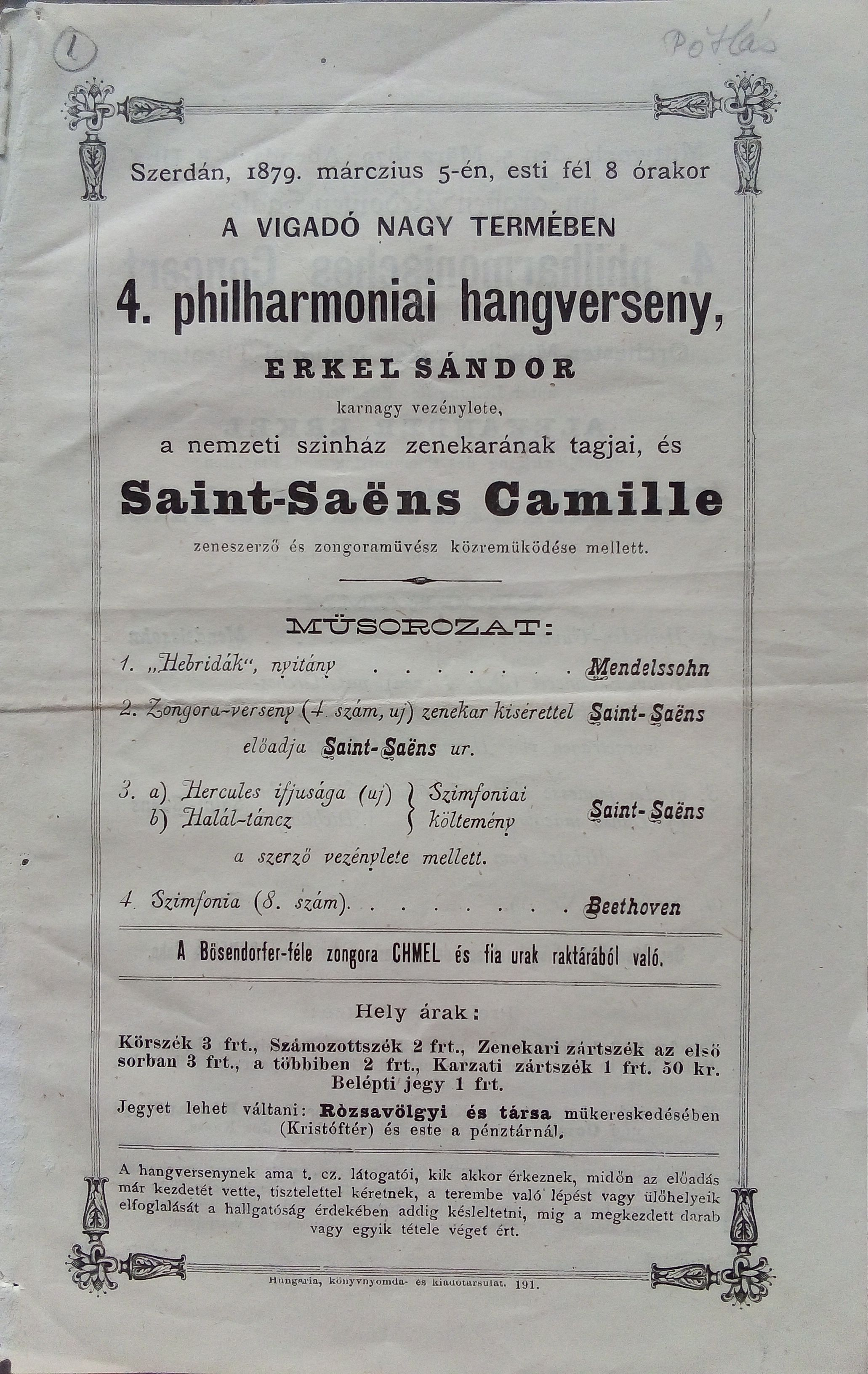 Saint-Saëns budapesti, filharmóniai koncertjének műsorlapja ‒ Plakát- és Kisnyomtatványtár