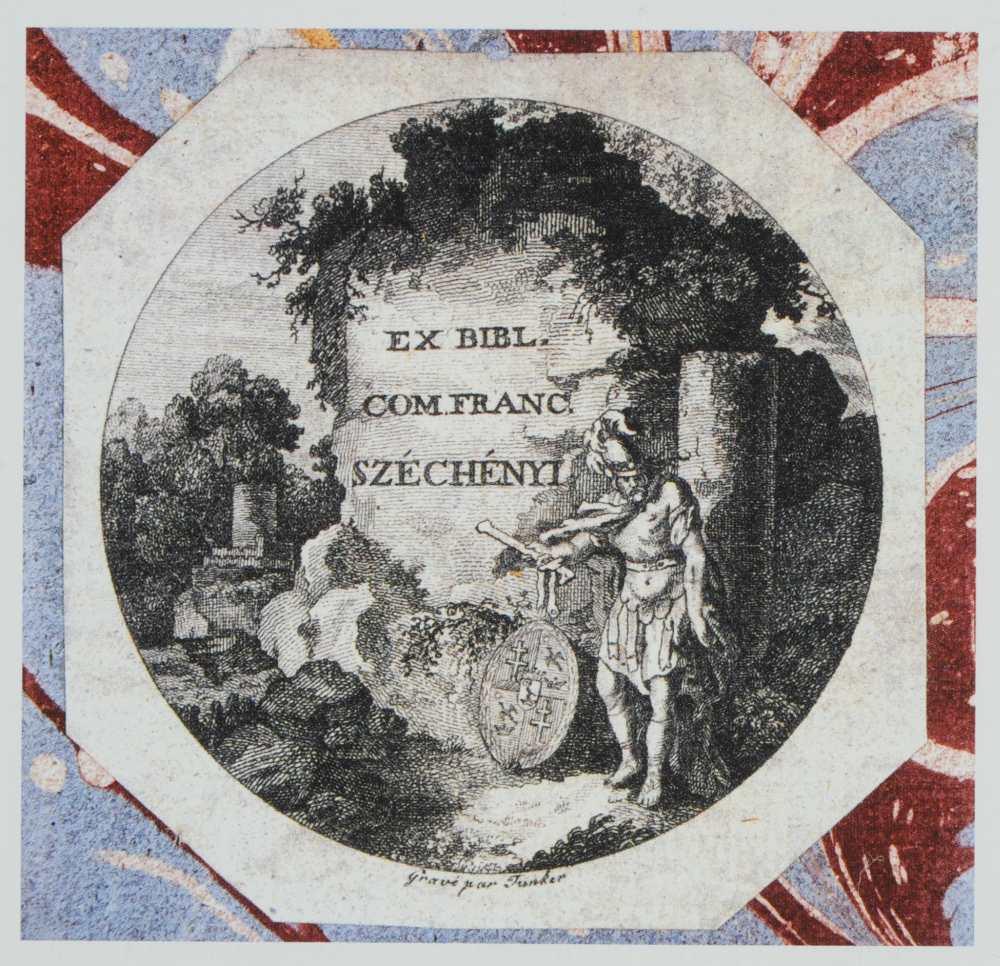 Széchényi Ferenc ex librise a nagycenki gyűjtemény köteteiben