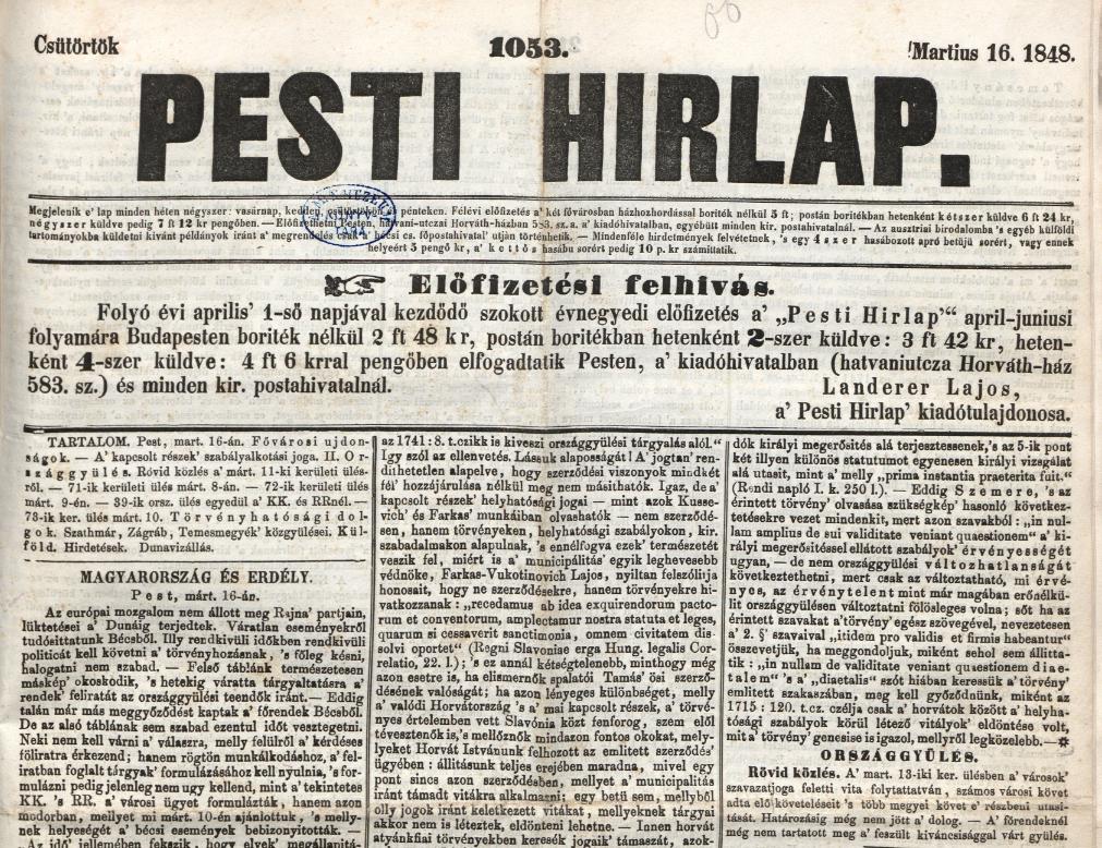 Pesti Hírlap, 1848. március 16. 1054. sz. – Törzsgyűjtemény