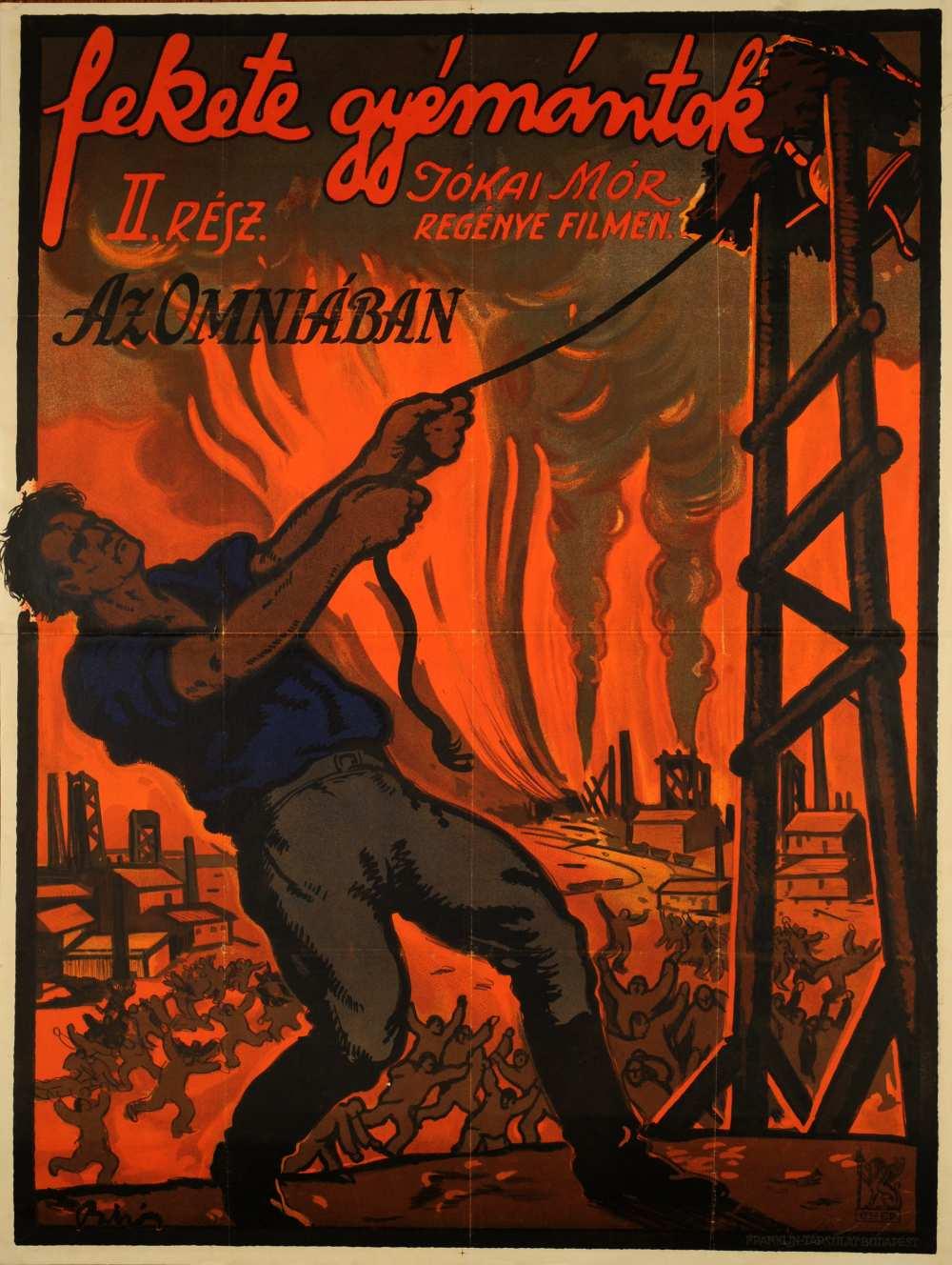 Fekete gyémántok. II. rész. Filmplakát, 1917. – Térkép-, Plakát-és Kisnyomtatványtár, Jelzet: Pkg 1917/2.