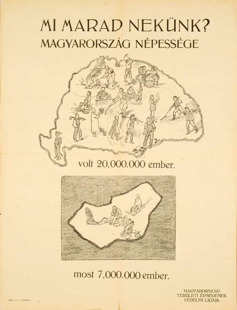 Mi marad nekünk? Magyarország népessége. [1920]. Fekete szénrajz. Jelzet: PKG.1920/116 – Plakát- és Kisnyomtatványtár; Magyar Digitális Képkönyvtár https://kepkonyvtar.hu/jetspeed/portal/browser.psml?docID=91083