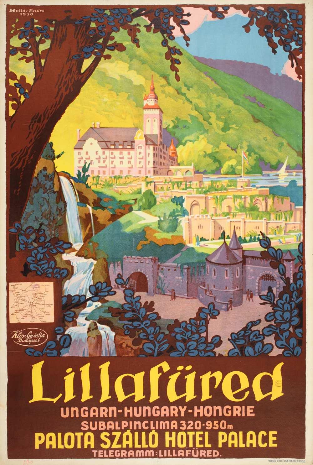 Hollós Endre: Lillafüred (1930). Jelzet: PKG.1930/80 – Térkép-, Plakát- és Kisnyomtatványtár http://nektar.oszk.hu/hu/manifestation/2774330