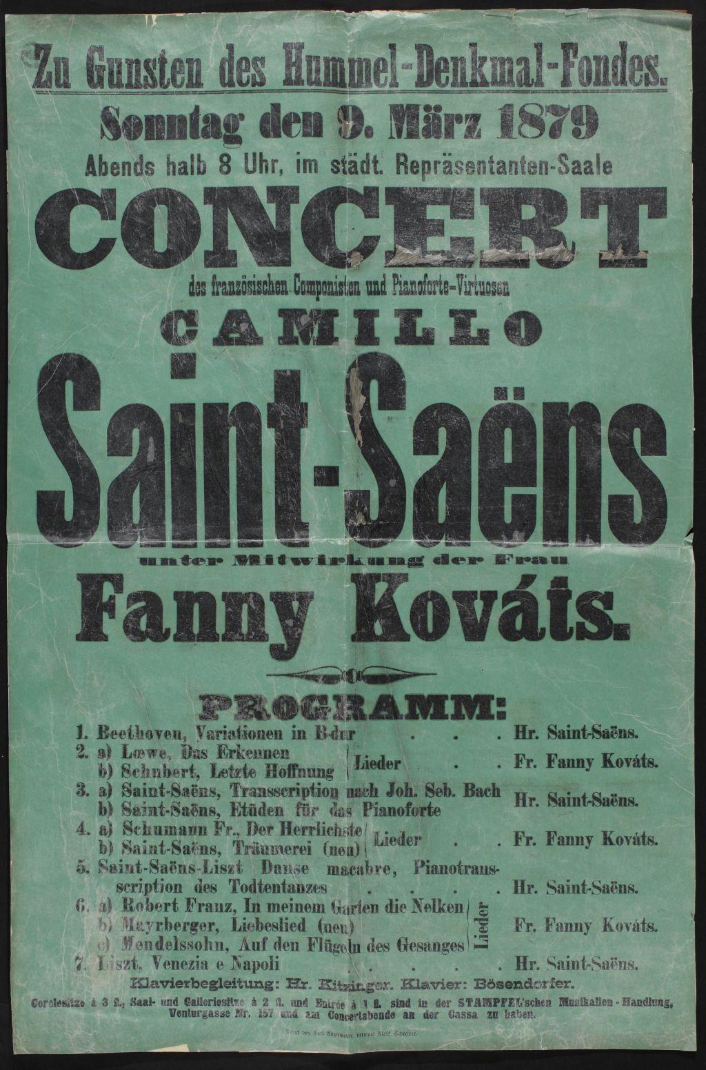 Saint-Saëns pozsonyi koncertjének plakátja ‒ Plakát- és Kisnyomtatványtár