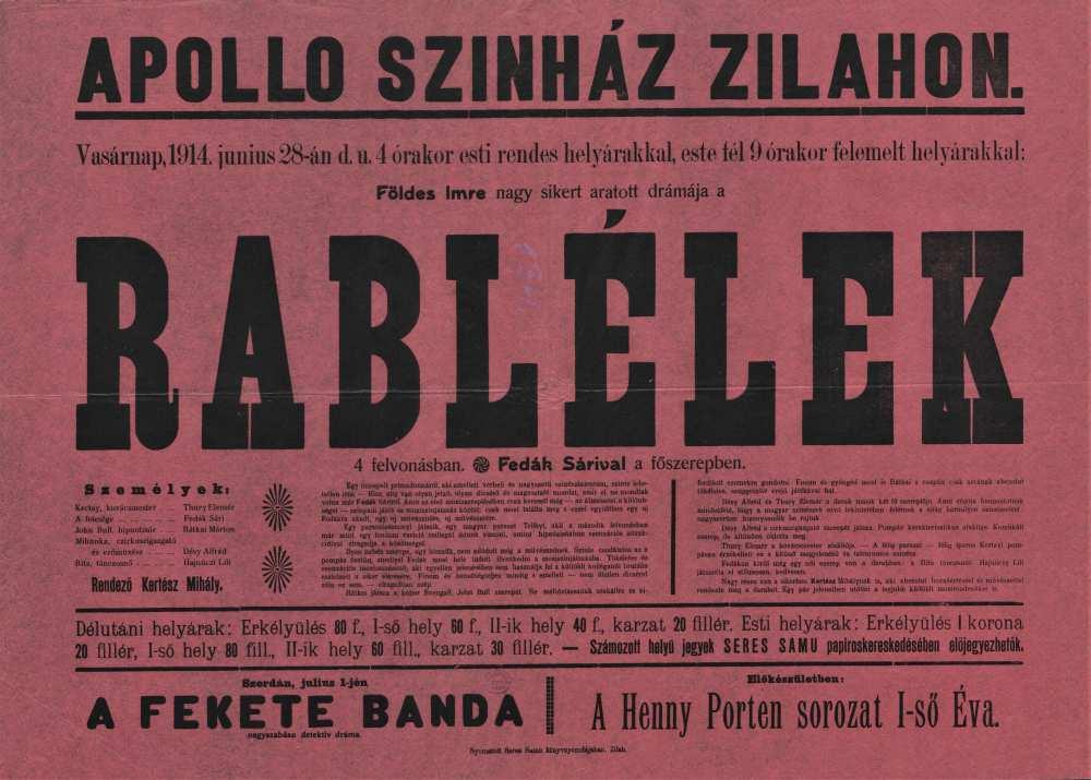 Rablélek. Filmplakát, 1914. – Térkép-, Plakát- és Kisnyomtatványtár, Jelzet: Szöv.pl 1914