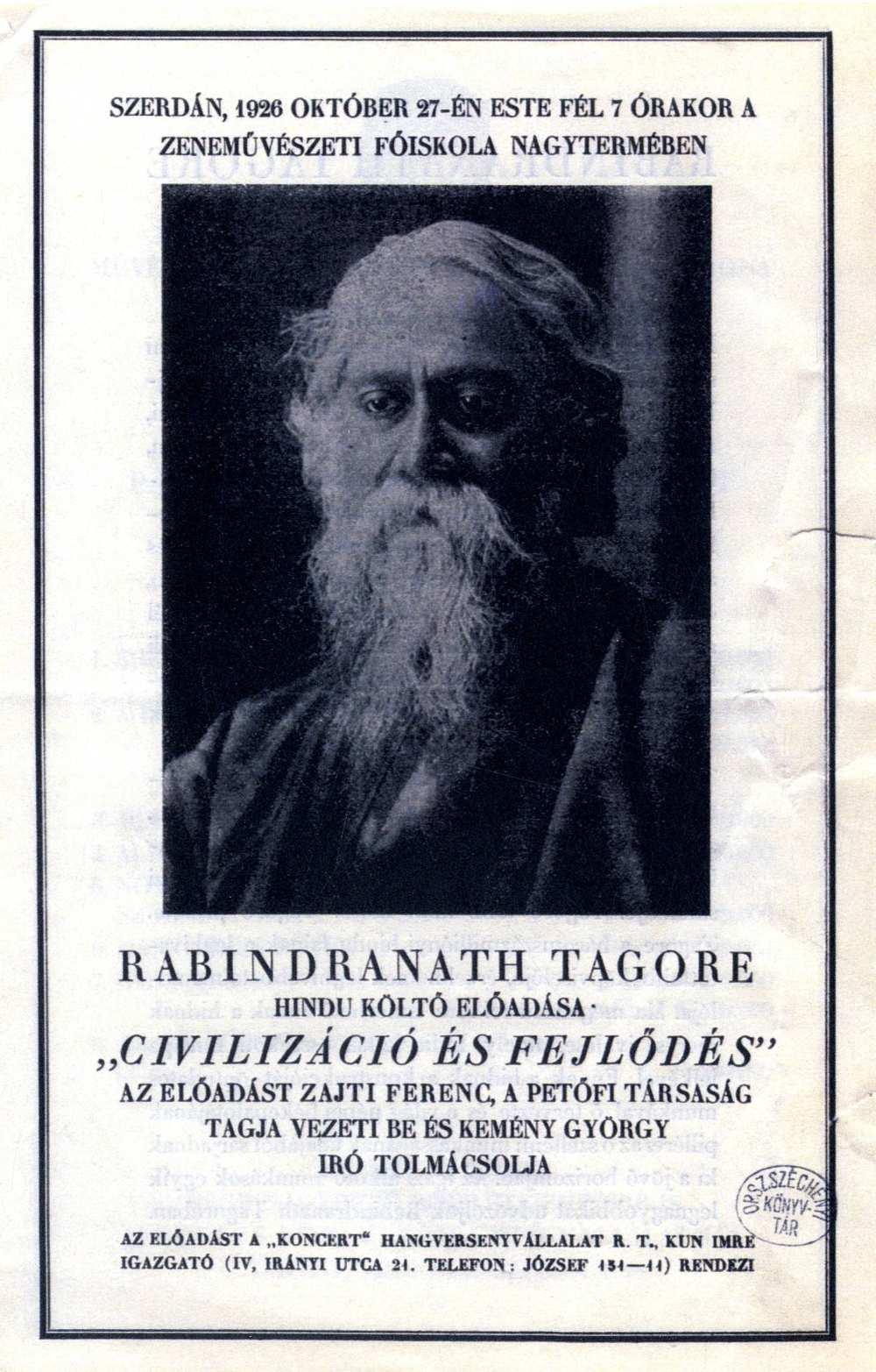 Meghívó Tagore Civilizáció és fejlődés című előadására a Zeneakadémiára – Térkép-, Plakát- és Kisnyomtatványtár