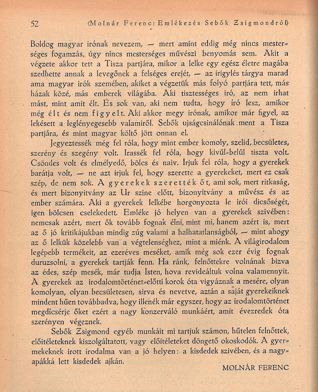 Molnár Ferenc: Emlékezés Sebők Zsigmondról. Székfoglaló a Kisfaludy Társaságban, Nyugat, 1923.