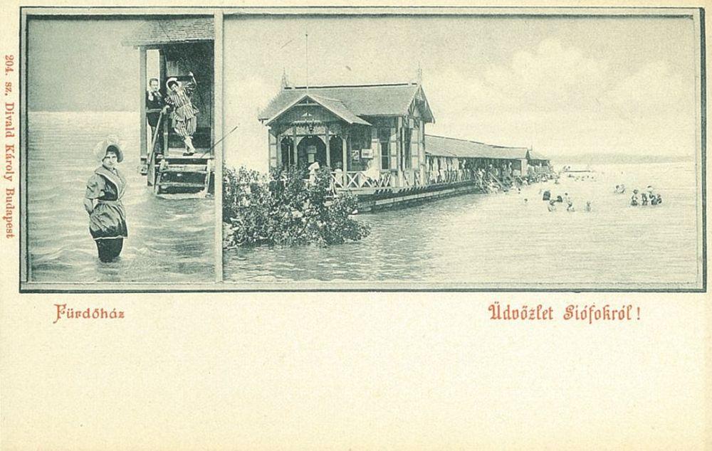 Siófoki fürdőház. Fotó: Divald Károly. Képeslap – Térkép-, Plakát-és Kisnyomtatványtár. Jelzet: S 7265