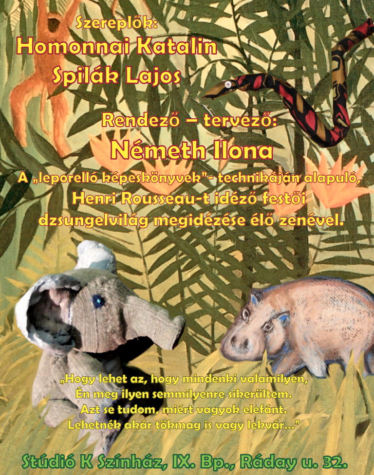 Stúdió K Színház: A kis elefánt című darab szórólapja, alsó rész. A Stúdió K színház engedélyével.