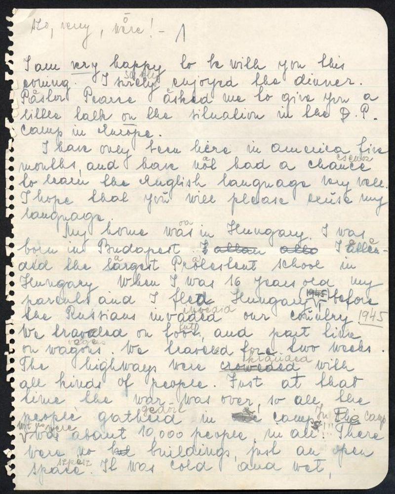Szász Marianna amerikai állampolgársági beszéde. 1955. Kézirat