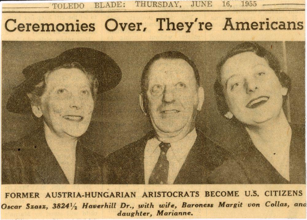 Az amerikai állampolgárságot kapott Szász Marianne és szülei. In. Toledo Blade, 1988. jún. 16. Újságkivágat