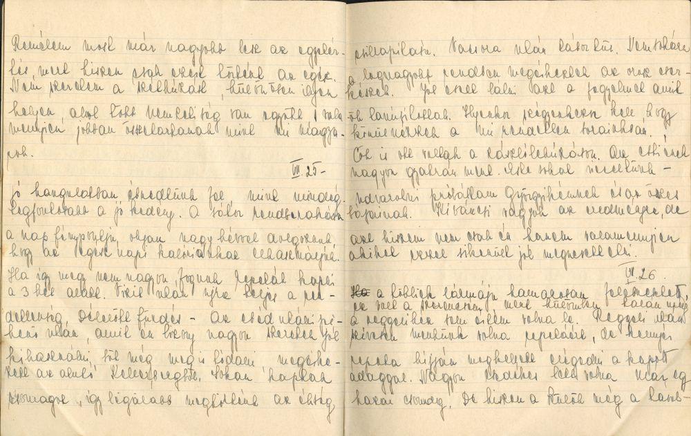 Szász Marianna Naplójának részlete. Kézirat