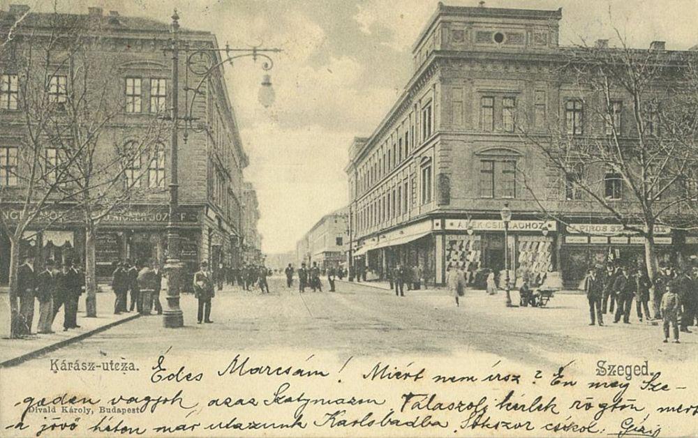 Szeged, Kárász utca. Fotó: Divald Károly. Képeslap – Térkép-, Plakát-és Kisnyomtatványtár. Jelzet: Sz 900.