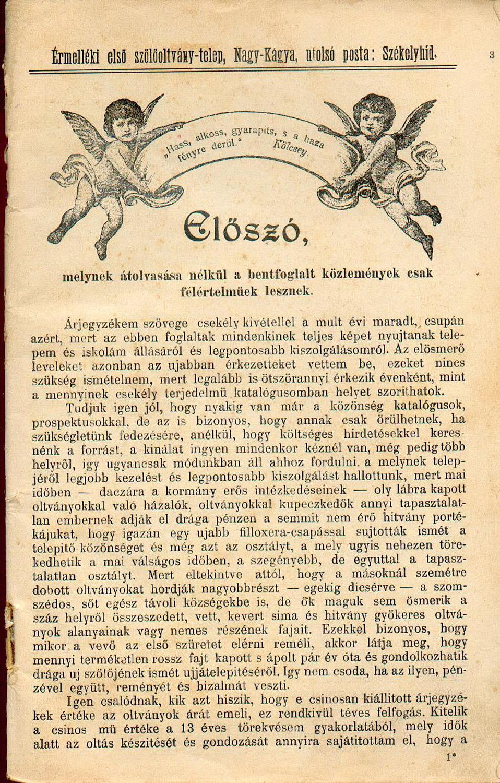 Az érmelléki első szőlőoltványtelep 1903–1904. évi árjegyzéke. Részlet. Székelyhíd, 1903 – Törzsgyűjtemény