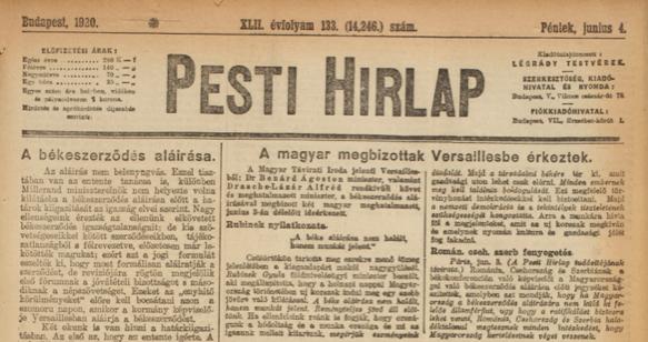 Pesti Hírlap, 1920. június 4.,