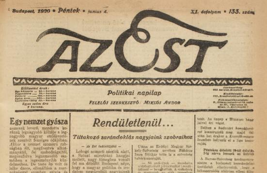 Az Est, 1920. június 4.