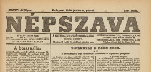 Népszava, 1920. június 4.,
