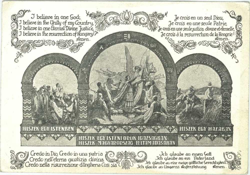 Hiszek egy Istenben, hiszek egy hazában… – [képeslap] 1945 előtti képeslapgyűjtemény. Történelem – Plakát- és Kisnyomtatványtár