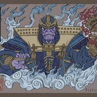 Avengers Endgame karakterek tradicionális Japán stílusban