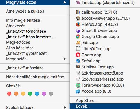 OSX: Alapértelmezett program beállítása [Társítás]