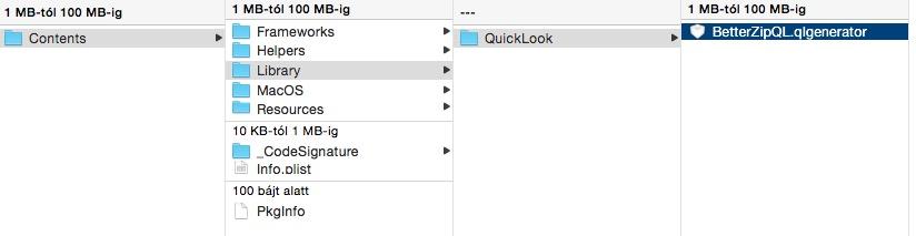 OSX: tömörített fájl tartalmának megnézése kitömörítés nélkül