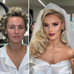 A menyasszony smink nélkül és már teljes pompában