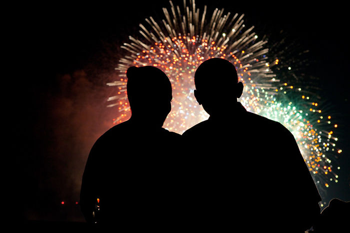 Az elnök és felesége megtekinti a június 4-ei tüzijátékot
