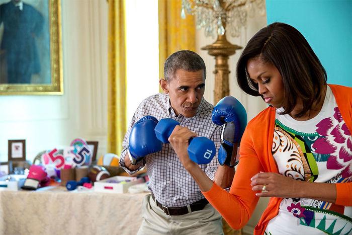 Michelle programjával sokakat buzdított egészségesebb életmódra, mozgásra. Persze, Barack is támogatta őt ebben.
