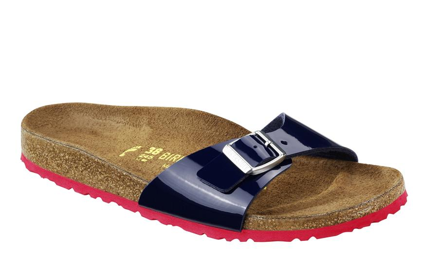 BIRKENSTOCK CLASSICS Birkenstock Madrid Colour Mix Patent Blue With Red Outersole 339261 - DEEP BLUE_2736.jpg