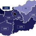 Városi lakásárak változása régiónként 2008 és 2018 II. negyedéve között