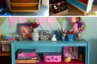 Porfogóból játéktároló polcos szekrény