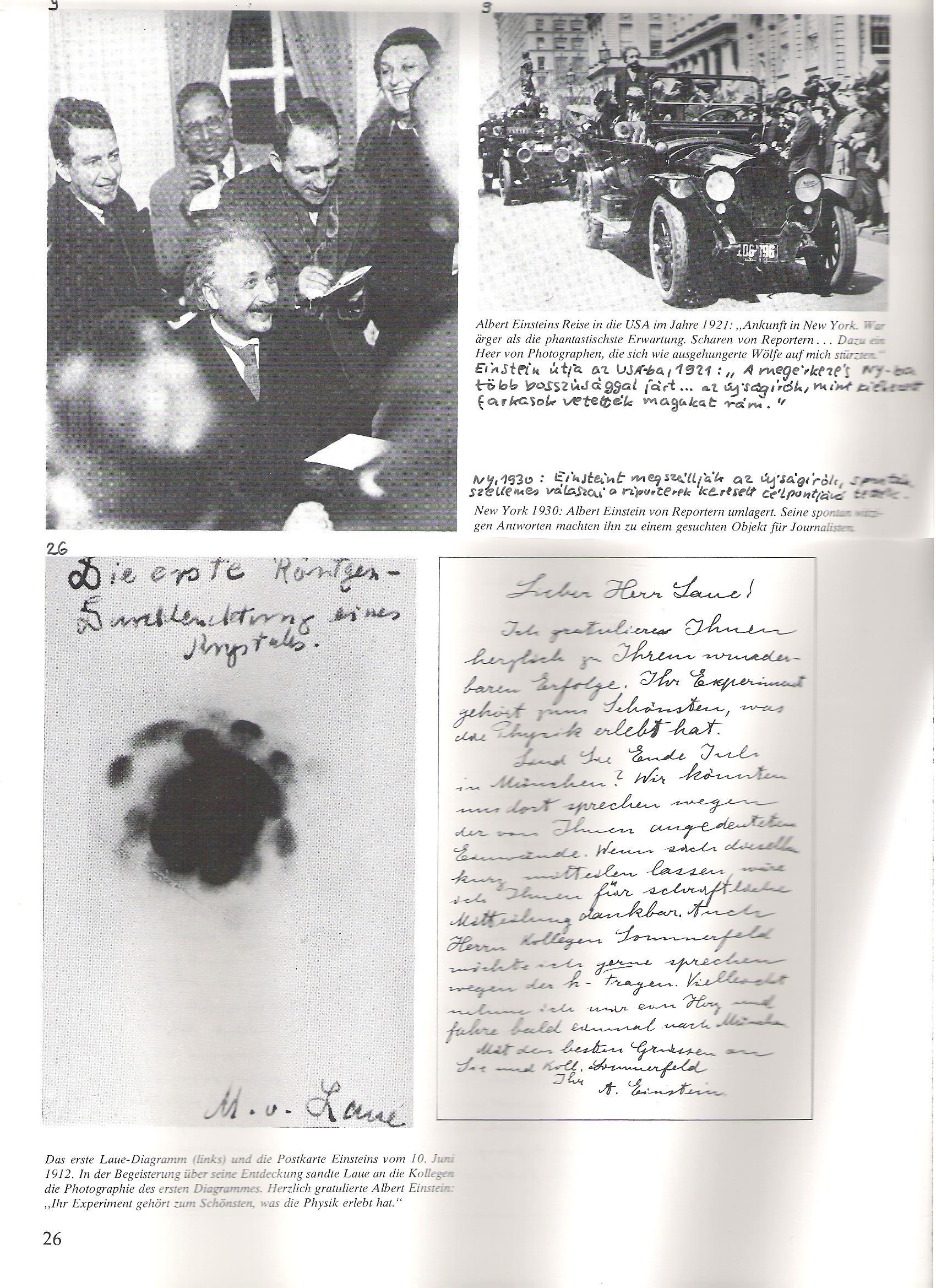 """Az első Laue-diagram és Einstein levlapja, 1912. jún.12-én. Laue lelkesülten küldött fotókat kollégáinak a fölfedezéséről. Einstein szívből gratulált: """"Az Ön kísérlete a legszebbek közé tartozik, amit a fizika nyújtott."""""""