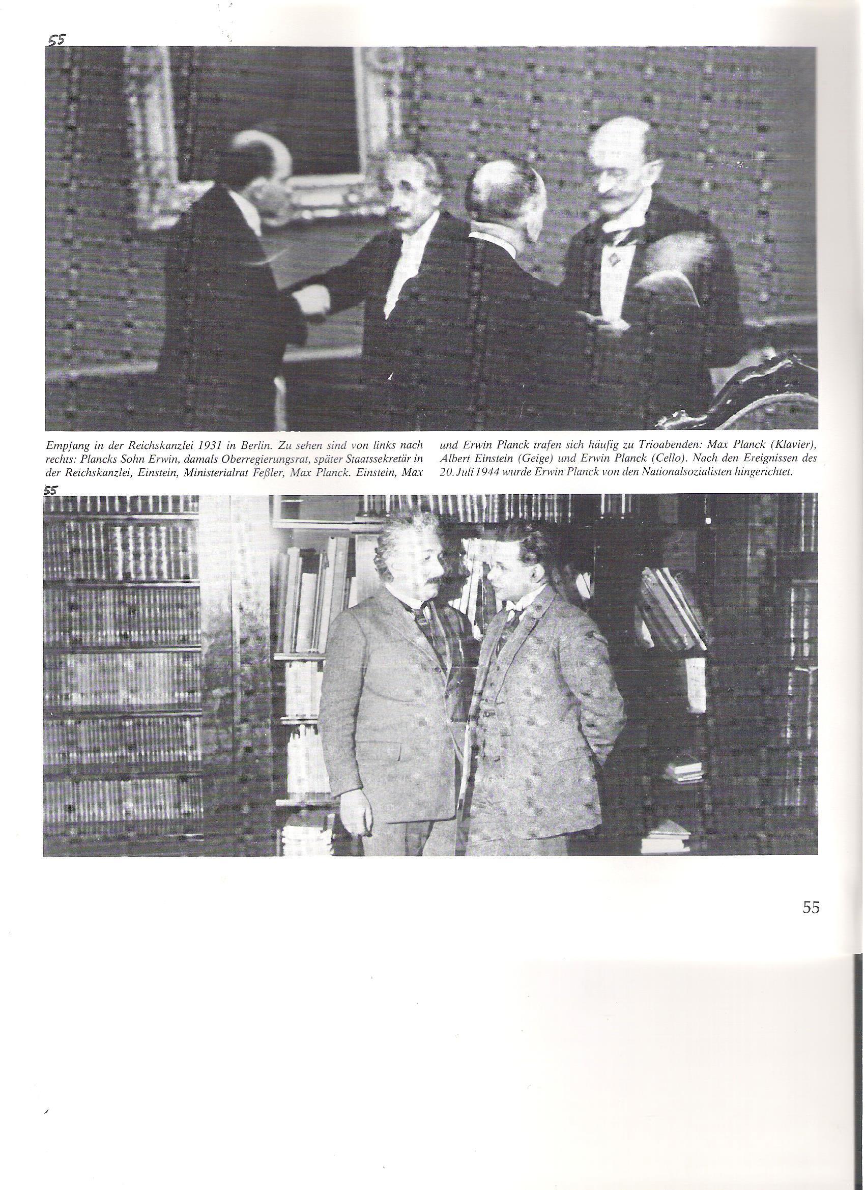 55<br />Fogadás a Birodalmi Kancelláriában, Berlin, 1931. <br />Balról jobbra: Planck fia Erwin, akkoriban kormányzati tanácsos, később államtitkár a Birodalmi Kancelláriában, Einstein, Feßler miniszteri tanácsos, Max Planck.<br />Einstein és Erwin Planck gyakran találkoztak a trióestéken: Max Planck (zongora), Einstein (hegedű), Erwin Planck (cselló). Az 1944. Július 20.-i események után Erwin Planckot a nemzetiszocialisták kivégeztették.<br /><br />55<br />Einstein idősebb fiával Hans-Albert-tel berlini lakásukban 1927-ben. A fia csak látogatóban volt Berlinben, anyjával, Einstein elvált feleségével élt Svájcban.