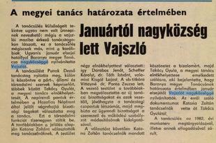 MEGSÁRGULT ÚJSÁGLAPOK - Januártól nagyközség lett Vajszló (1982)